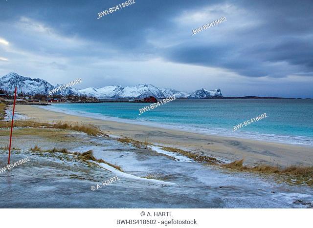 white sandy beach at Skaland Beach, Norway, Fylke Troms, Bergfjord auf Senja