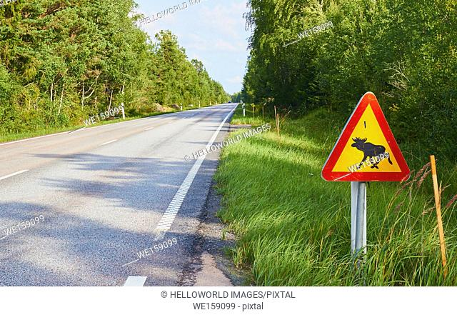 Sign warning drivers to beware of moose on the road, Sweden, Scandinavia