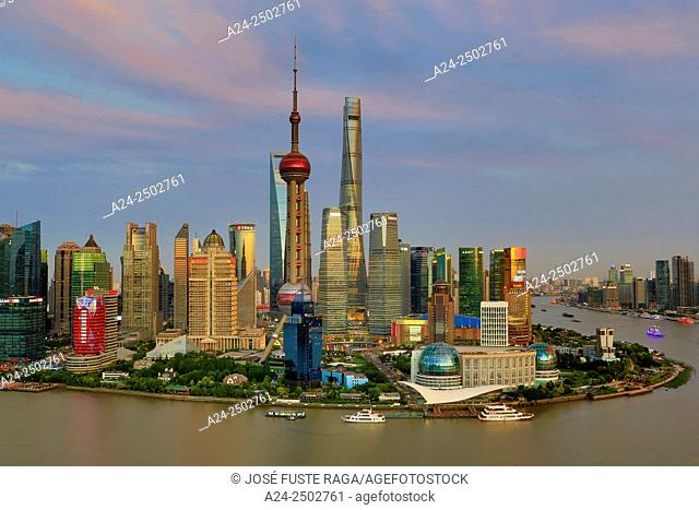 China, Shanghai City, Pudong Skyline, ,Oriental Pearl, World Financial Center and Shanghai Towers, Huangpu River