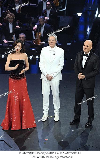 Claudio Baglioni, Virginia Raffaele, Claudio Bisio during 69th Festival of the Italian Song, Sanremo final evening. Sanremo, Italy 09 Febr 2019