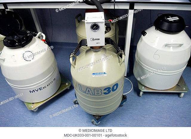 Cryogenics is used to store fertilised embryos for future use by patients. The are stored inside the sealable containers which contain liquid nitrogen to keep...
