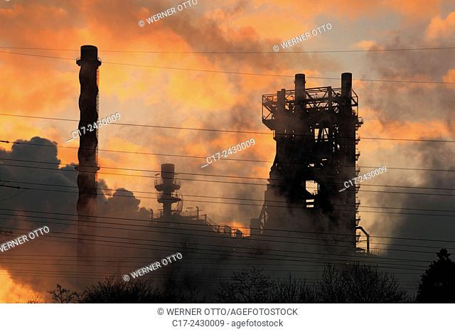 Germany, Duisburg, Rhine, Lower Rhine, Ruhr area, North Rhine-Westphalia, NRW, Duisburg-Marxloh, iron and steel works of ThyssenKrupp Steel Europe