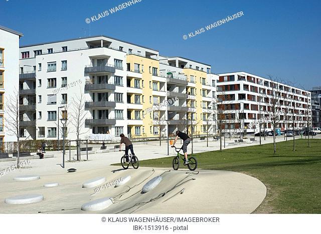 Modern housing with playground, Arnulfpark, Munich, Bavaria, Germany, Europe