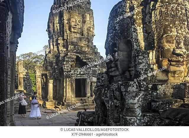 Tourists, in Bayon temple, Angkor Thom, Angkor, Siem Reap, Cambodia