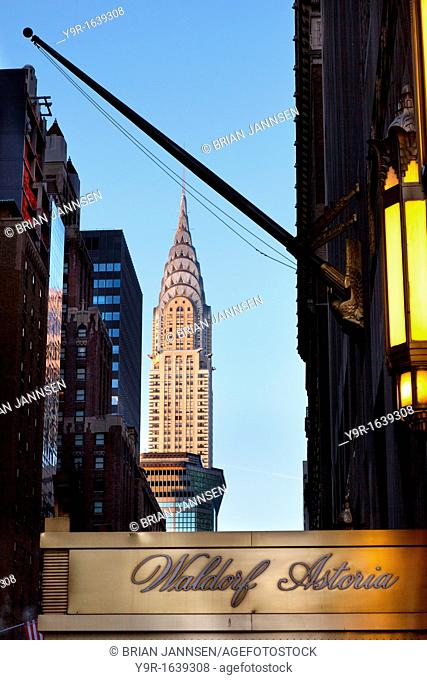 Early morning view of the Chrysler Building from the Waldorf Astoria Hotel in Manhattan, New York City USA