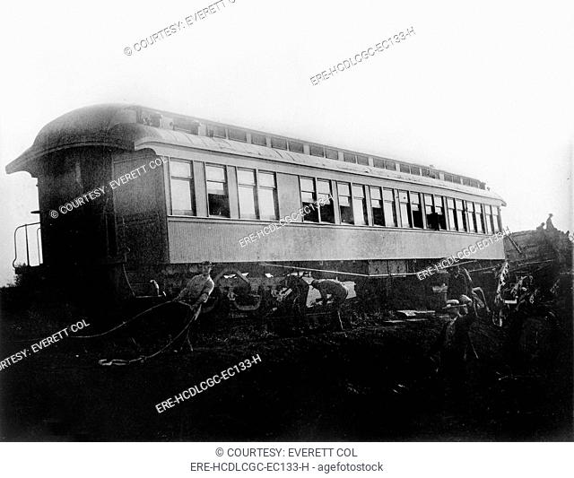 View of the great railroad wreck, Chatsworth horror, sleeper 'Tunis' from the south, August 11, 1887