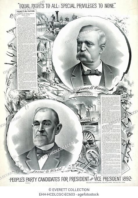 People's party candidates for president and vice president. poster ca 1892