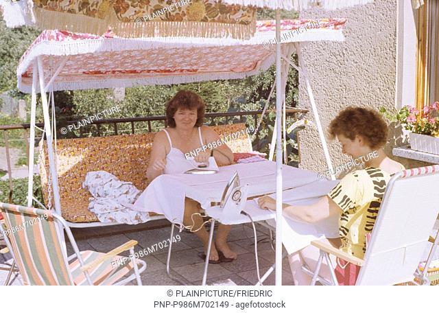 Ironing in the garden