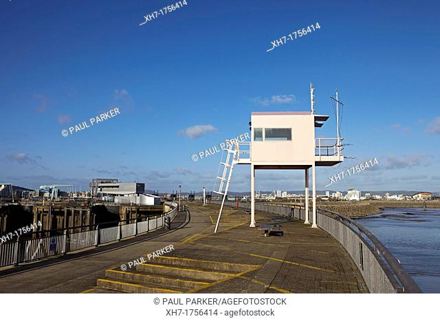 Lookout Tower on Cardiff Bay Barrage, Cardiff, Wales, UK