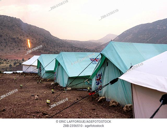 Yezedi Refugee Camp In Front Of An Oil Field, Lalesh, Kurdistan, Iraq