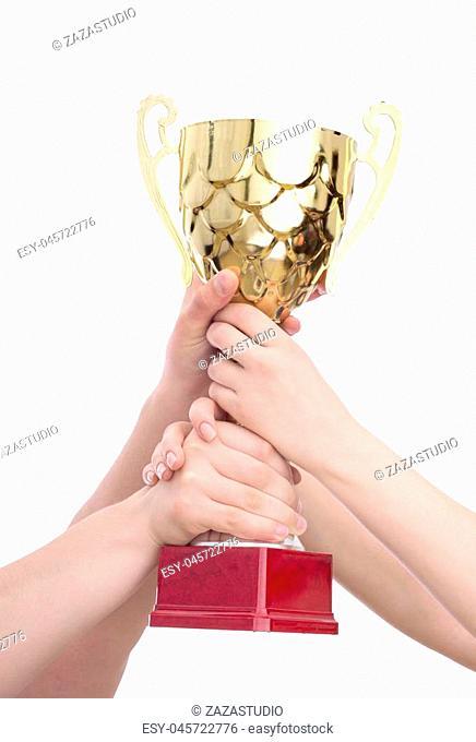champion golden trophy on white background