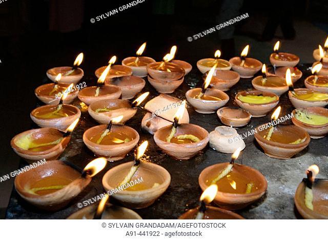 Candles in Batu Caves Hinduist sanctuary and pilgrimage center, Kuala Lumpur .Malaysia