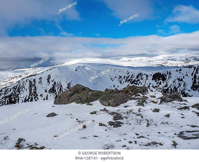 On the summit of The Cairnwell in the Cairngorm National Park looking over the glen to Carn a' Gheoidh in the distance, Cairngorm National Park, Scotland