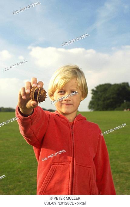 boy holding conker