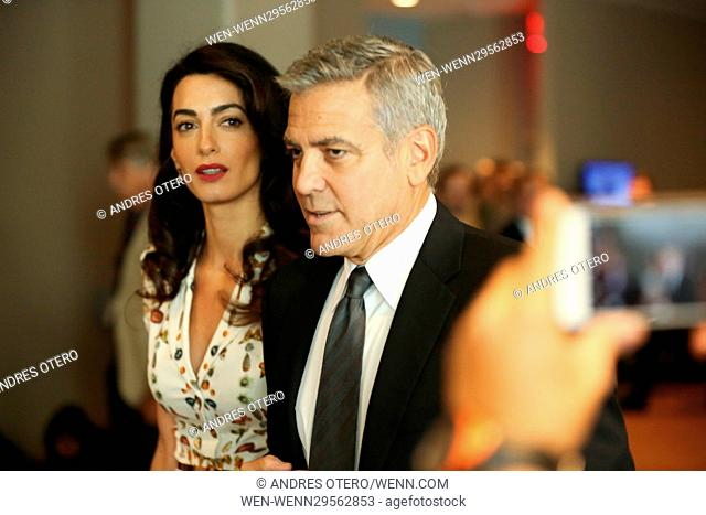 George Clooney and wife Amal Clooney at UN roundtable meeting with the president Obama at United Nations New York. Featuring: George Clooney