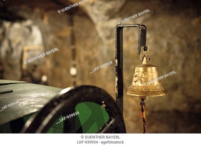 detail of signal bell of a pit train, mining pit Tiefer Stollen, Aalen, Ostalb province, Swabian Alb, Baden-Wuerttemberg, Germany