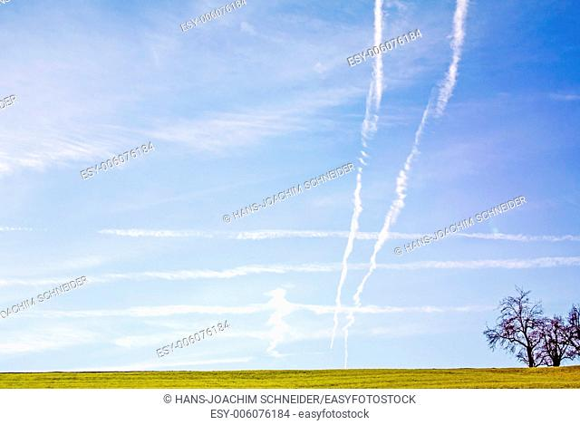 Condensation trails on sky