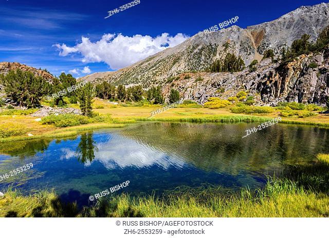 Alpine tarn on the Bishop Pass Trail, John Muir Wilderness, Sierra Nevada Mountains, California USA
