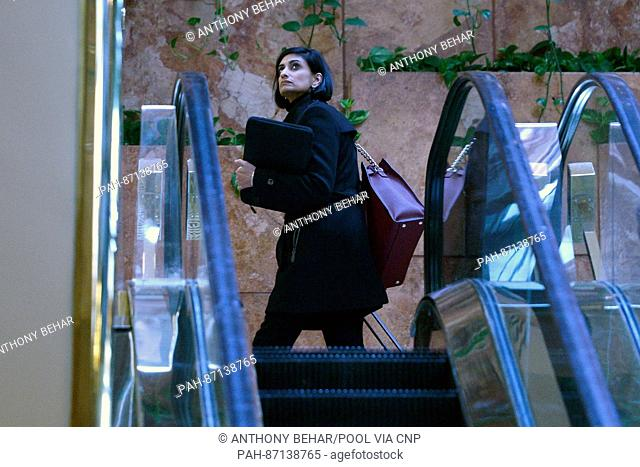 Seems Verma, president-elect's choice for Centers for Medicare and Medicaid Services administrator, is seen going up the escalators in the lobby of the Trump...
