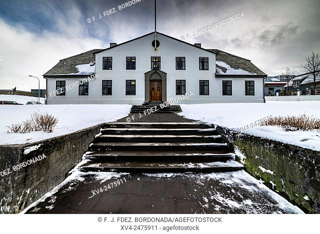 Government house ai Reykjavik downtown in winter, Iceland