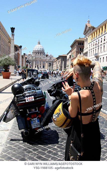 16 June 2013 Harley Davidson enthusiasts converge on Saint Peter's Square, Vatican for a Papal Blessing during Sunday Mass in Rome Italy for HD110th Anniversary...