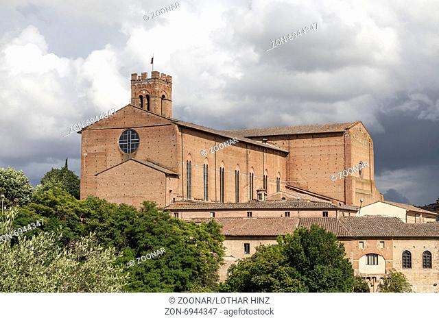 Siena, church San Domenica, brick basilica, Italy