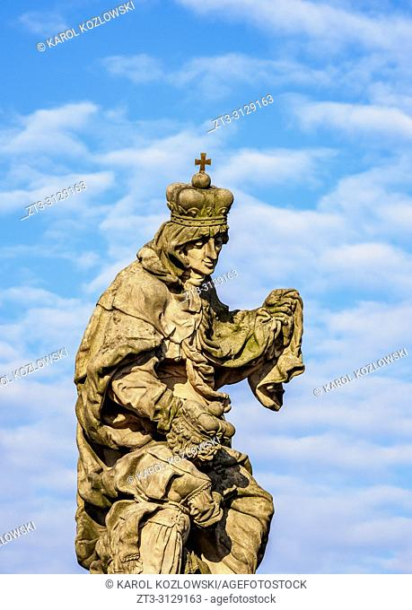 Sculpture at Charles Bridge, Prague, Bohemia Region, Czech Republic