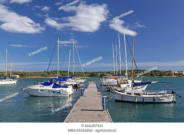 Landing stage, marina, Porto Colom, island Majorca