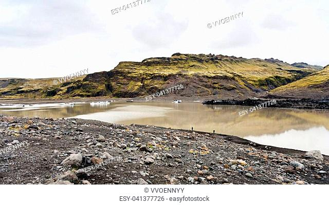 travel to Iceland - walking footpath from Solheimajokull glacier (South glacial tongue of Myrdalsjokull ice cap) in Katla Geopark on Icelandic Atlantic South...