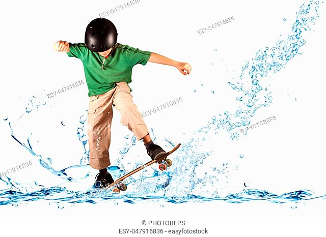 Young skater in balance on the water