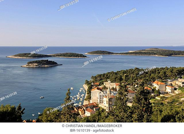 View from Spanjola fortress on town of Hvar, Hvar island, Croatia, Europe