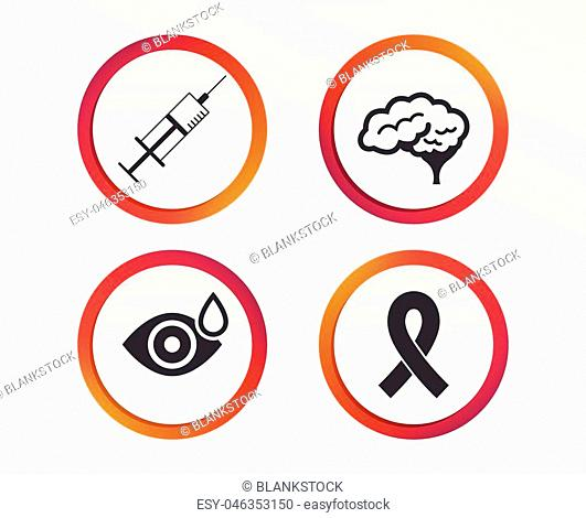 Medicine icons. Syringe, eye with drop, brain and ribbon signs. Breast cancer awareness symbol. Human smart mind. Infographic design buttons