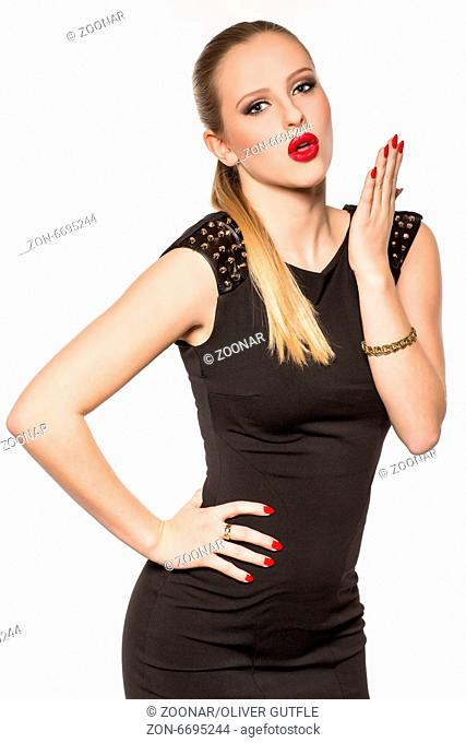 Young blond woman in dress, portrait, fashion, lif