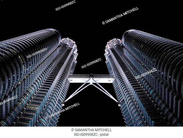 Low angle view of Petronas Towers, Kuala Lumpur, Malaysia