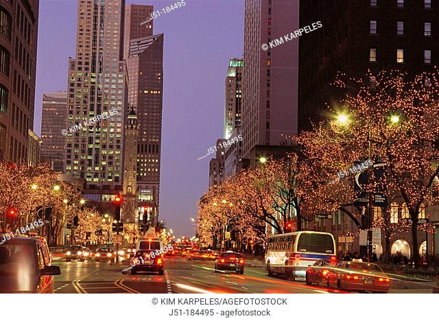 Michigan Avenue with holiday decorations. Chicago. USA