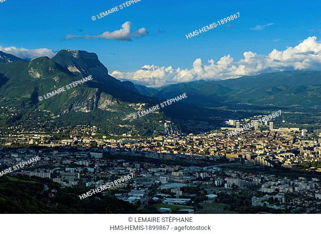 France, Isere, Grenoble, Bastille and Chartreuse seen from Vercors with Belledonne mountains at the back