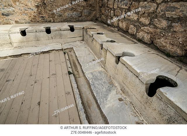 Latrine with continuous running water, 2nd century AD. Ephesus, UNESCO World Heritage Site, Selçuk, Izmir Province, Ionia Region, Turkey, Eurasia