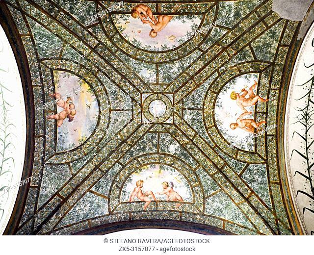 Ceilings in the semi-circular portico loggia overlooking the interior courtyard of villa Giulia - National Etruscan Museum of Villa Giulia - Rome, Italy