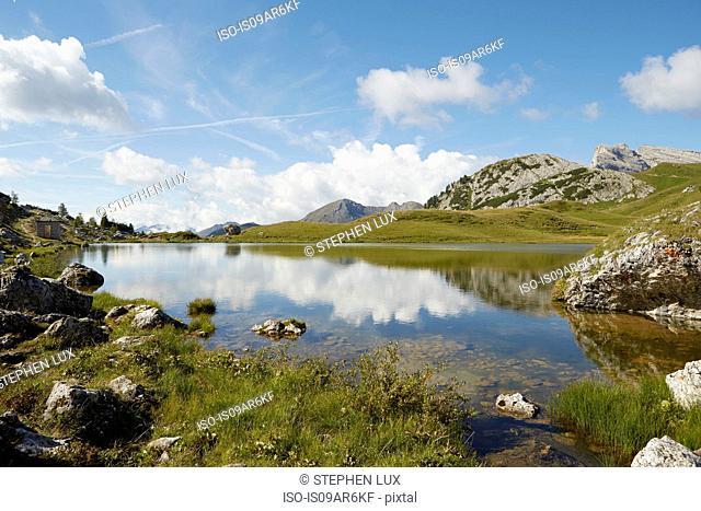 Dolomites, Lago di Valparola, Valparola Pass, Cortina d'Ampezzo, Belluno,Italy