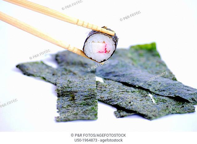 Sushi, dish made from marine red algae Porphyra sp