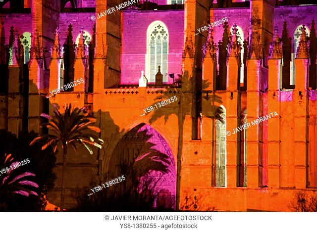 Spain, Balearic Islands, Mallorca, Palma de Mallorca Cathedral lit during the show Atiarfoc 2011