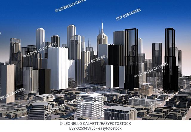 Modern cityscape in daylight. Close up view. Buildings are rendered as they are a scale model
