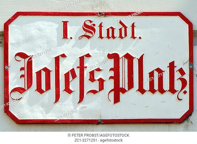 Street sign of the square Josefsplatz in Vienna - Austria
