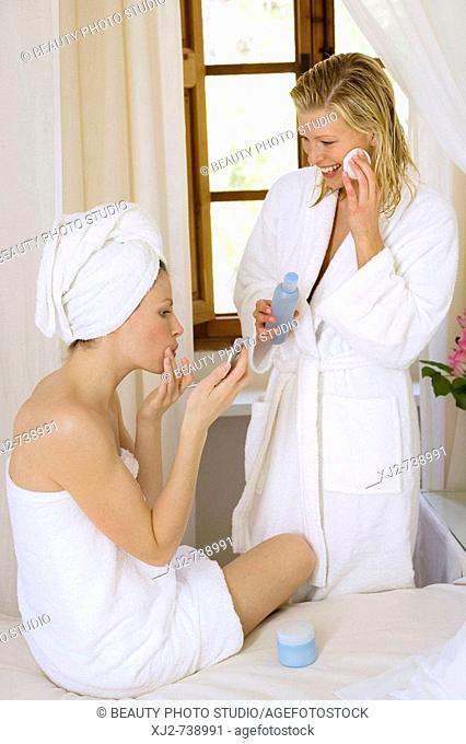Women at home beauty care