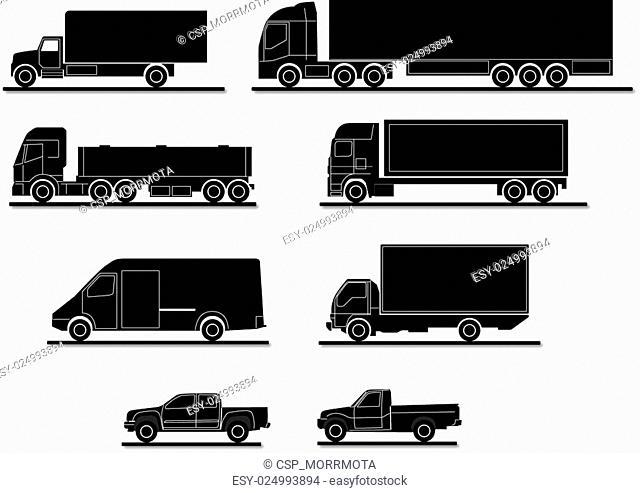 Vector set of trucks