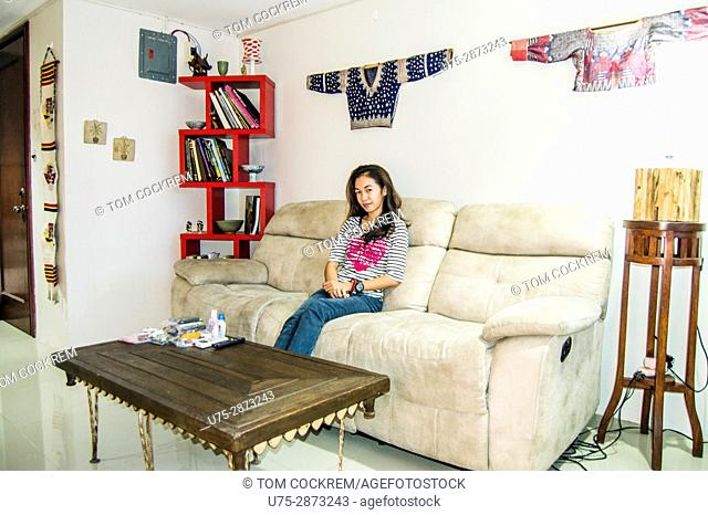 Living-room interior with antique and modern furnishings and decor, downtown Cebu, Philippines