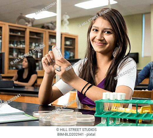 Student working in lab classroom