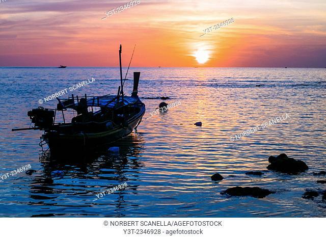 Asia. Thailand. Andaman Sea. Koh Lanta island. Klong Khong Beach. Sunset