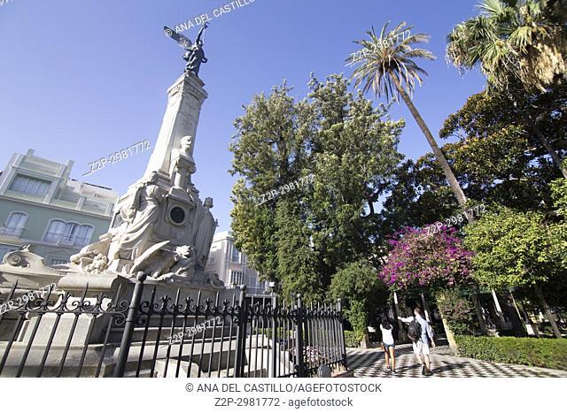 Park in Cadiz , Andalusia, Spain, Monument at Jardines de Alameda Apodaca