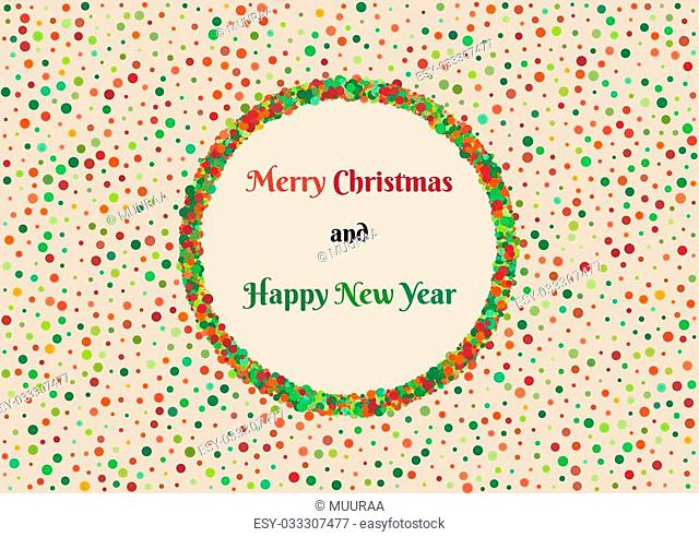 Background pattern with mess of color dots with different size and christmas wish. Multicolor dotted wallpaper contains text: Merry Christmas and Happy New Year